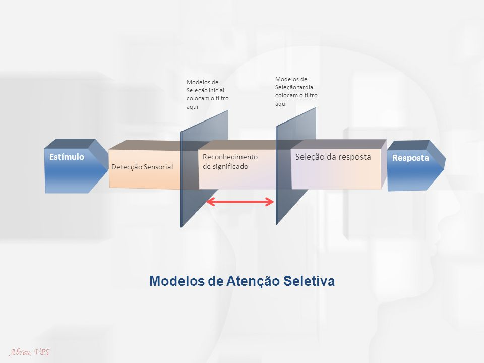 Modelos de Atenção Seletiva Estímulo Detecção Sensorial Reconhecimento de significado Seleção da resposta Resposta Modelos de Seleção inicial colocam