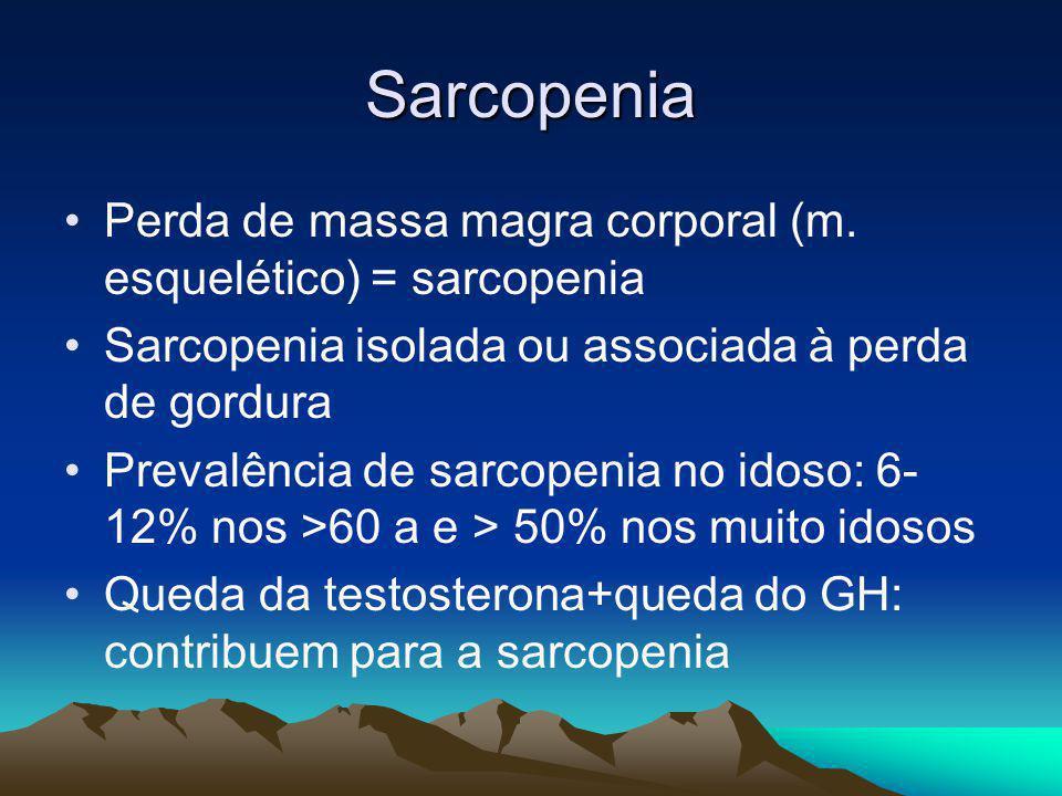 Sarcopenia Perda de massa magra corporal (m. esquelético) = sarcopenia Sarcopenia isolada ou associada à perda de gordura Prevalência de sarcopenia no