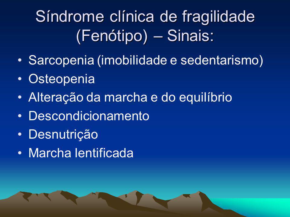 Síndrome clínica de fragilidade (Fenótipo) – Sinais: Sarcopenia (imobilidade e sedentarismo) Osteopenia Alteração da marcha e do equilíbrio Descondici