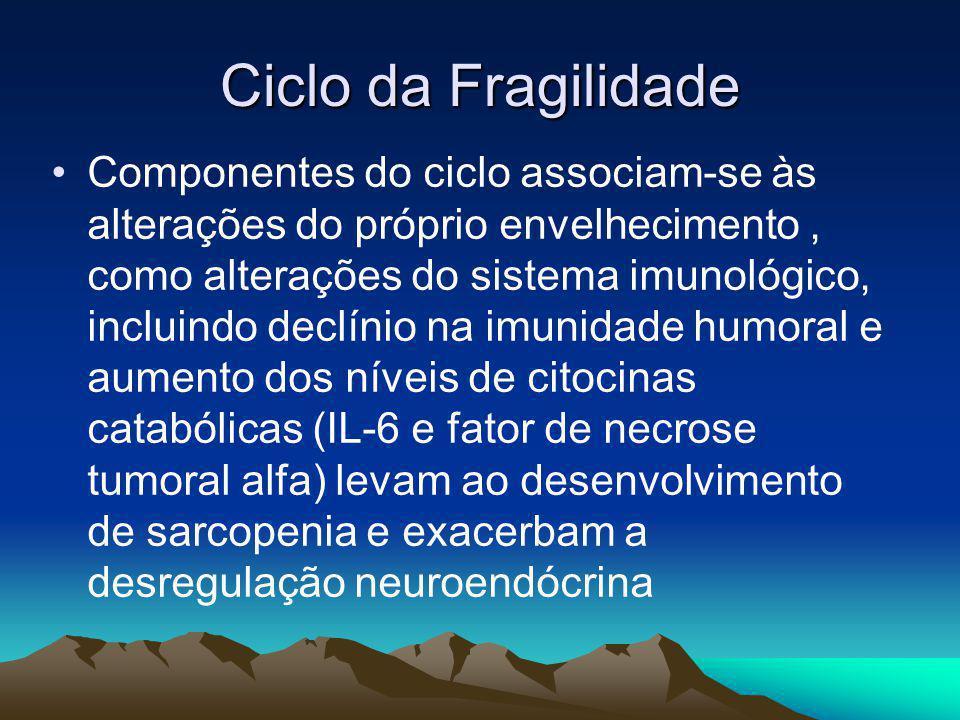 Ciclo da Fragilidade Componentes do ciclo associam-se às alterações do próprio envelhecimento, como alterações do sistema imunológico, incluindo declí