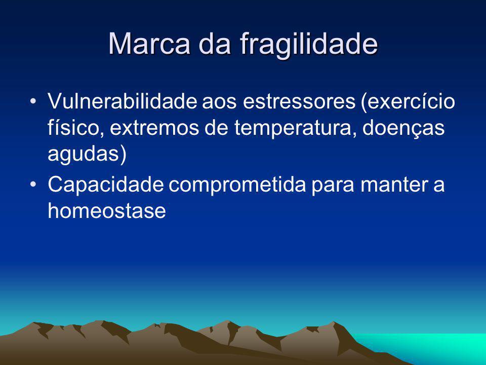 Marca da fragilidade Vulnerabilidade aos estressores (exercício físico, extremos de temperatura, doenças agudas) Capacidade comprometida para manter a