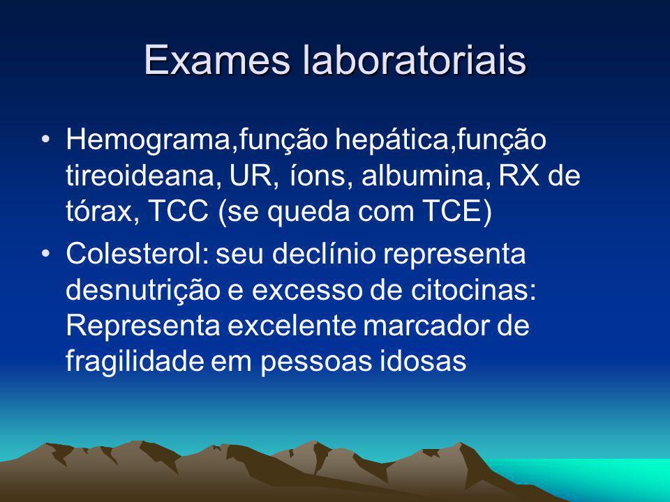 Exames laboratoriais Hemograma,função hepática,função tireoideana, UR, íons, albumina, RX de tórax, TCC (se queda com TCE) Colesterol: seu declínio re