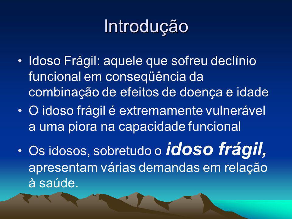 Introdução Idoso Frágil: aquele que sofreu declínio funcional em conseqüência da combinação de efeitos de doença e idade O idoso frágil é extremamente