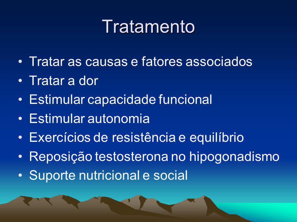 Tratamento Tratar as causas e fatores associados Tratar a dor Estimular capacidade funcional Estimular autonomia Exercícios de resistência e equilíbri