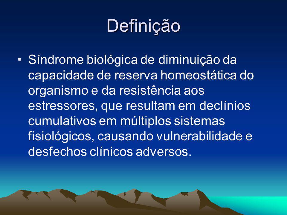 Definição Síndrome biológica de diminuição da capacidade de reserva homeostática do organismo e da resistência aos estressores, que resultam em declín