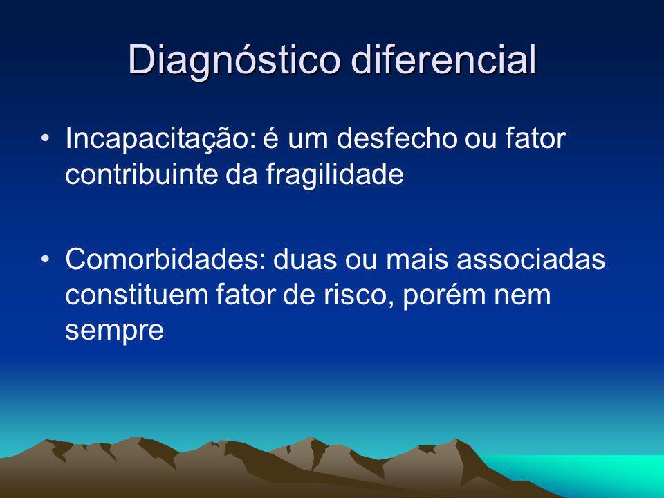 Diagnóstico diferencial Incapacitação: é um desfecho ou fator contribuinte da fragilidade Comorbidades: duas ou mais associadas constituem fator de ri