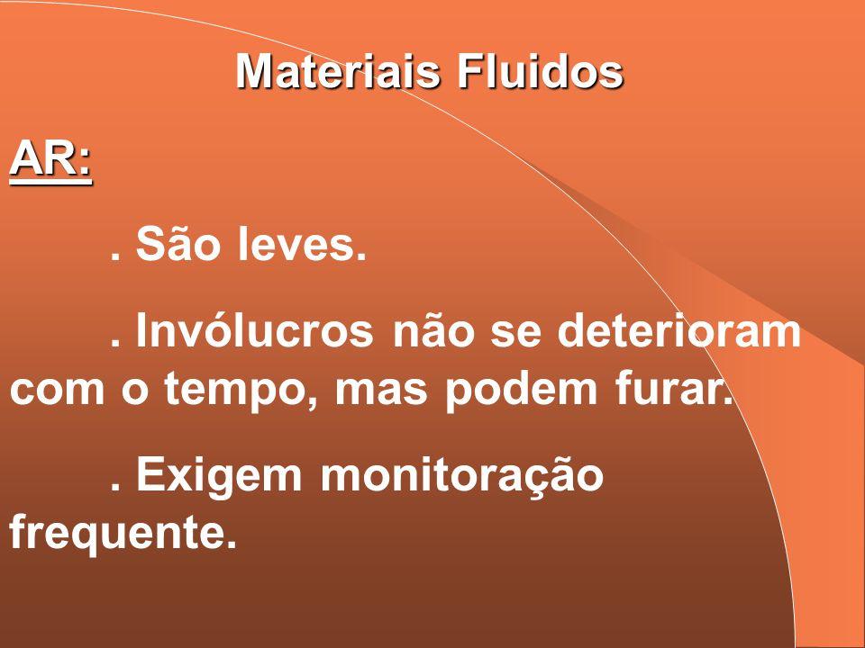 Materiais Fluidos AR:. São leves.. Invólucros não se deterioram com o tempo, mas podem furar.. Exigem monitoração frequente.