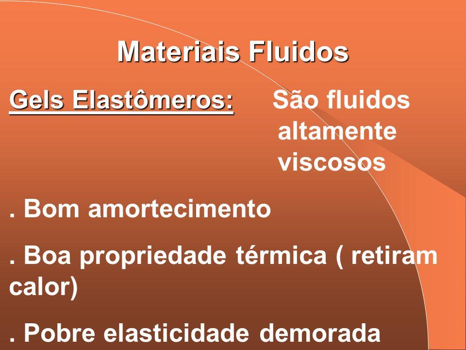 Materiais Fluidos Gels Elastômeros: Gels Elastômeros: São fluidos altamente viscosos. Bom amortecimento. Boa propriedade térmica ( retiram calor). Pob