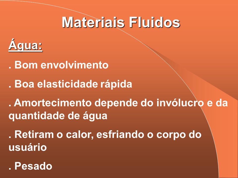 Materiais Fluidos Água:. Bom envolvimento. Boa elasticidade rápida. Amortecimento depende do invólucro e da quantidade de água. Retiram o calor, esfri