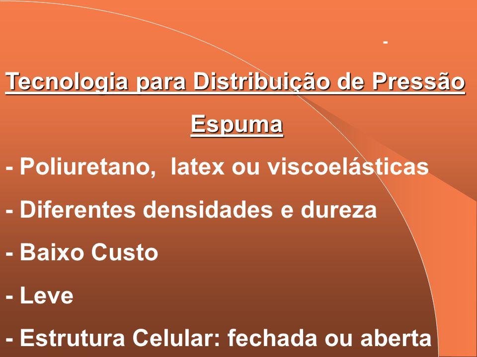 - Tecnologia para Distribuição de Pressão Espuma - Poliuretano, latex ou viscoelásticas - Diferentes densidades e dureza - Baixo Custo - Leve - Estrut