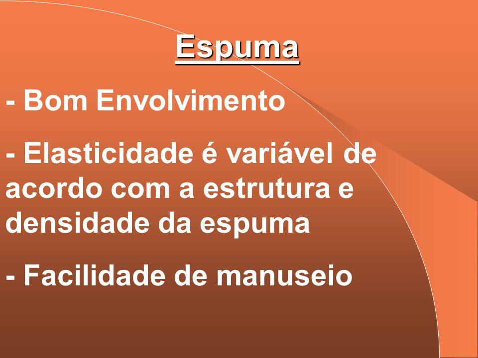 Espuma - Bom Envolvimento - Elasticidade é variável de acordo com a estrutura e densidade da espuma - Facilidade de manuseio