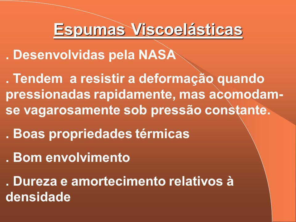 Espumas Viscoelásticas. Desenvolvidas pela NASA. Tendem a resistir a deformação quando pressionadas rapidamente, mas acomodam- se vagarosamente sob pr