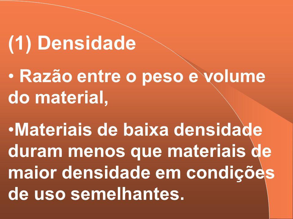 (1) Densidade Razão entre o peso e volume do material, Materiais de baixa densidade duram menos que materiais de maior densidade em condições de uso s