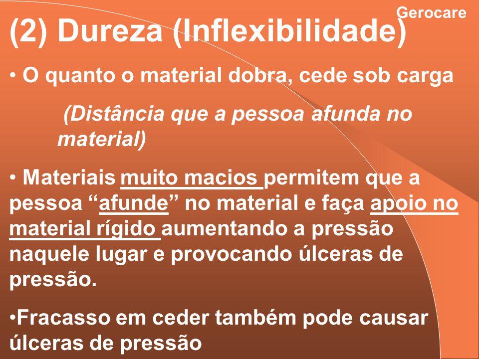 Gerocare (2) Dureza (Inflexibilidade) O quanto o material dobra, cede sob carga (Distância que a pessoa afunda no material) Materiais muito macios per