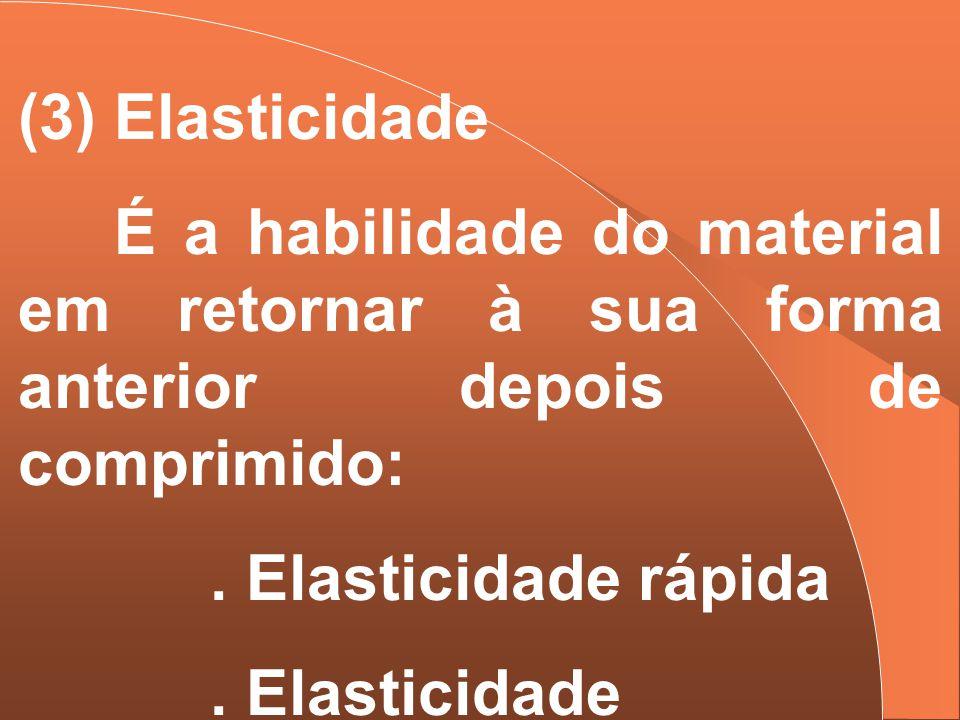 (3) Elasticidade É a habilidade do material em retornar à sua forma anterior depois de comprimido:. Elasticidade rápida. Elasticidade demorada