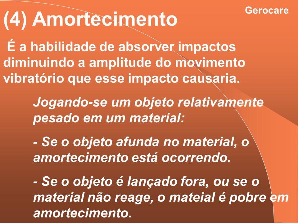 Gerocare (4) Amortecimento É a habilidade de absorver impactos diminuindo a amplitude do movimento vibratório que esse impacto causaria. Jogando-se um