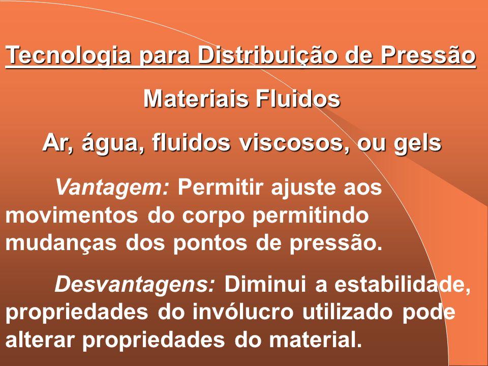 Tecnologia para Distribuição de Pressão Materiais Fluidos Ar, água, fluidos viscosos, ou gels Vantagem: Permitir ajuste aos movimentos do corpo permit