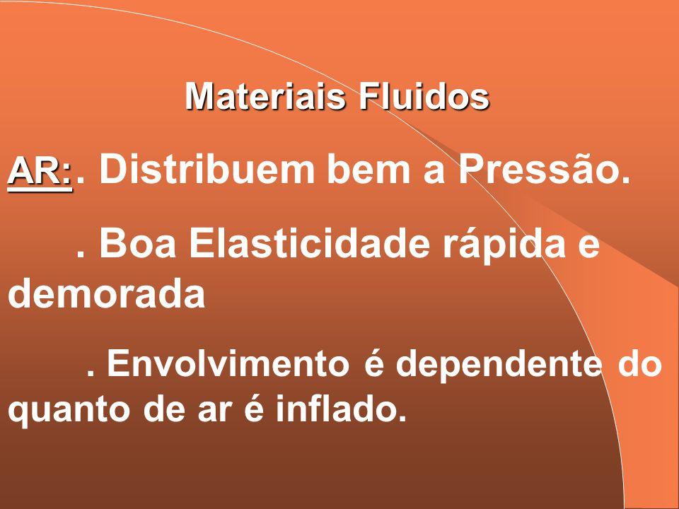 Materiais Fluidos AR: AR:. Distribuem bem a Pressão.. Boa Elasticidade rápida e demorada. Envolvimento é dependente do quanto de ar é inflado.