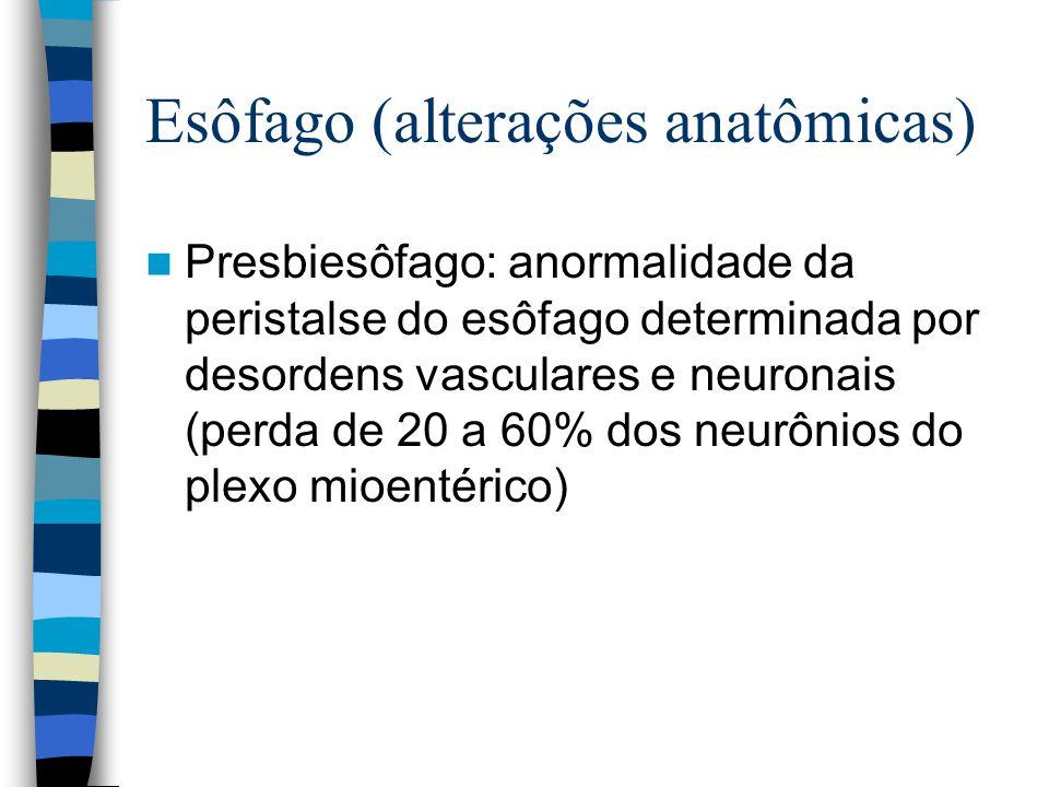 Esôfago (alterações anatômicas) Presbiesôfago: anormalidade da peristalse do esôfago determinada por desordens vasculares e neuronais (perda de 20 a 60% dos neurônios do plexo mioentérico)