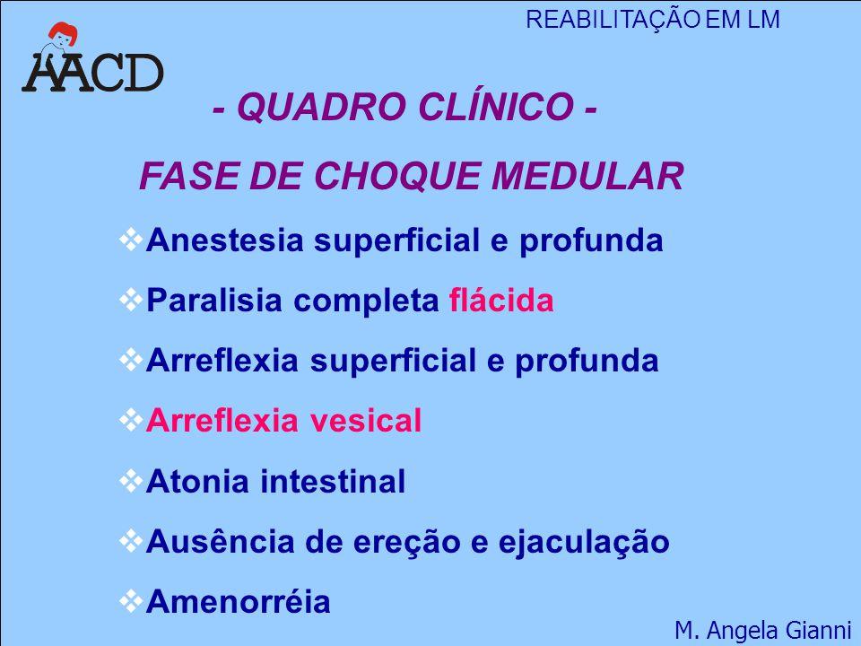 REABILITAÇÃO EM LM M. Angela Gianni - QUADRO CLÍNICO - FASE DE CHOQUE MEDULAR  Anestesia superficial e profunda  Paralisia completa flácida  Arrefl
