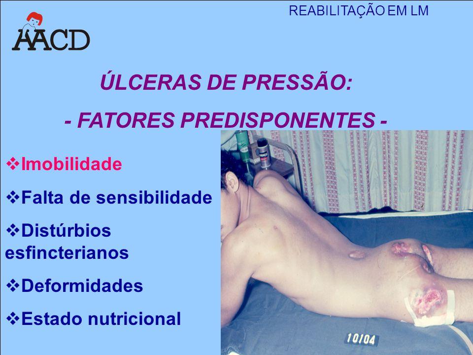 REABILITAÇÃO EM LM M. Angela Gianni  Imobilidade  Falta de sensibilidade  Distúrbios esfincterianos  Deformidades  Estado nutricional ÚLCERAS DE