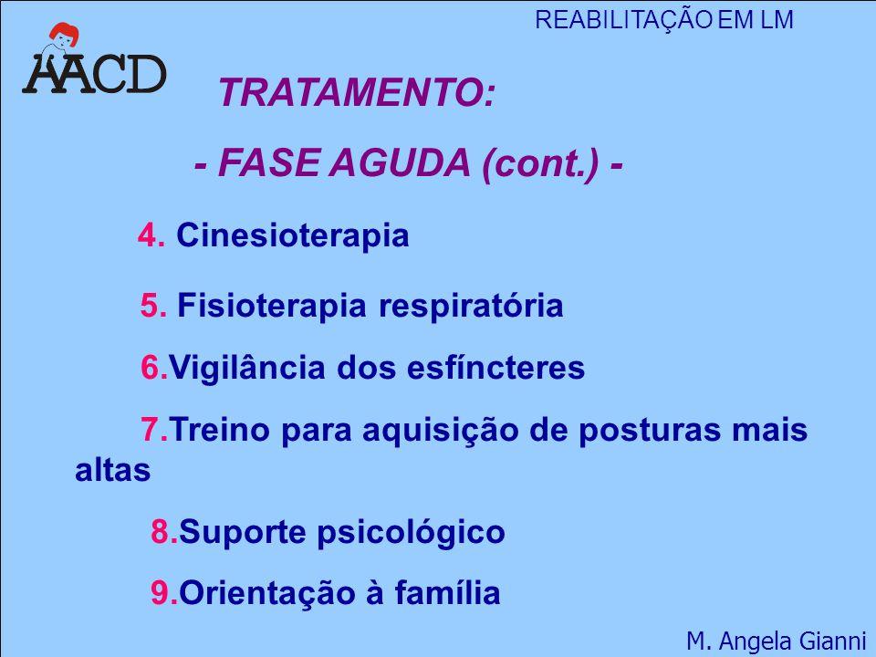 REABILITAÇÃO EM LM M. Angela Gianni TRATAMENTO: - FASE AGUDA (cont.) - 4. Cinesioterapia 5. Fisioterapia respiratória 6.Vigilância dos esfíncteres 7.T