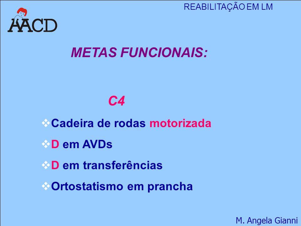 REABILITAÇÃO EM LM M. Angela Gianni METAS FUNCIONAIS: C4  Cadeira de rodas motorizada  D em AVDs  D em transferências  Ortostatismo em prancha