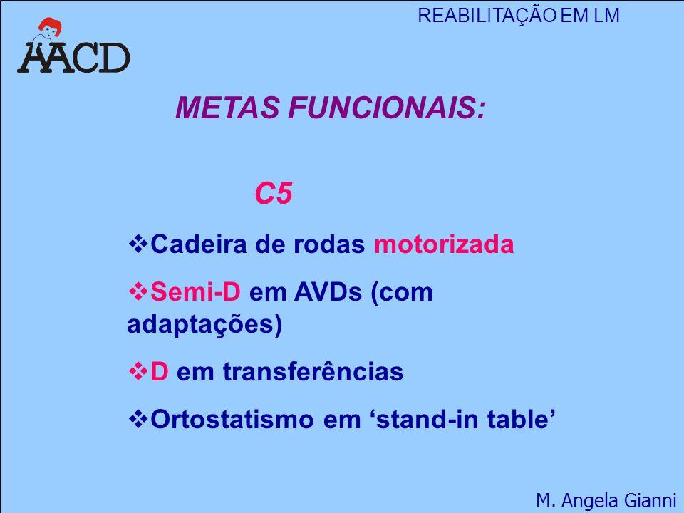 REABILITAÇÃO EM LM M. Angela Gianni METAS FUNCIONAIS: C5  Cadeira de rodas motorizada  Semi-D em AVDs (com adaptações)  D em transferências  Ortos