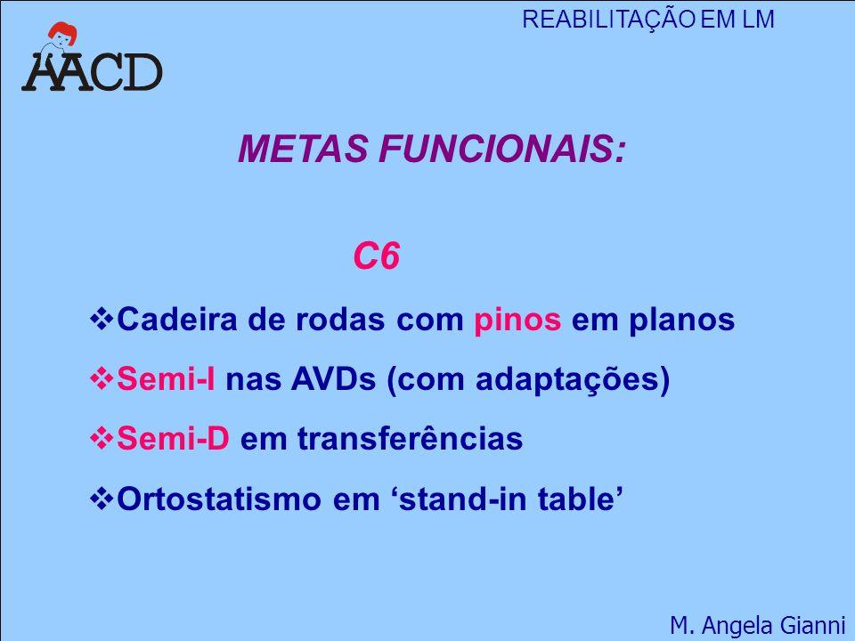 REABILITAÇÃO EM LM M. Angela Gianni METAS FUNCIONAIS: C6  Cadeira de rodas com pinos em planos  Semi-I nas AVDs (com adaptações)  Semi-D em transfe