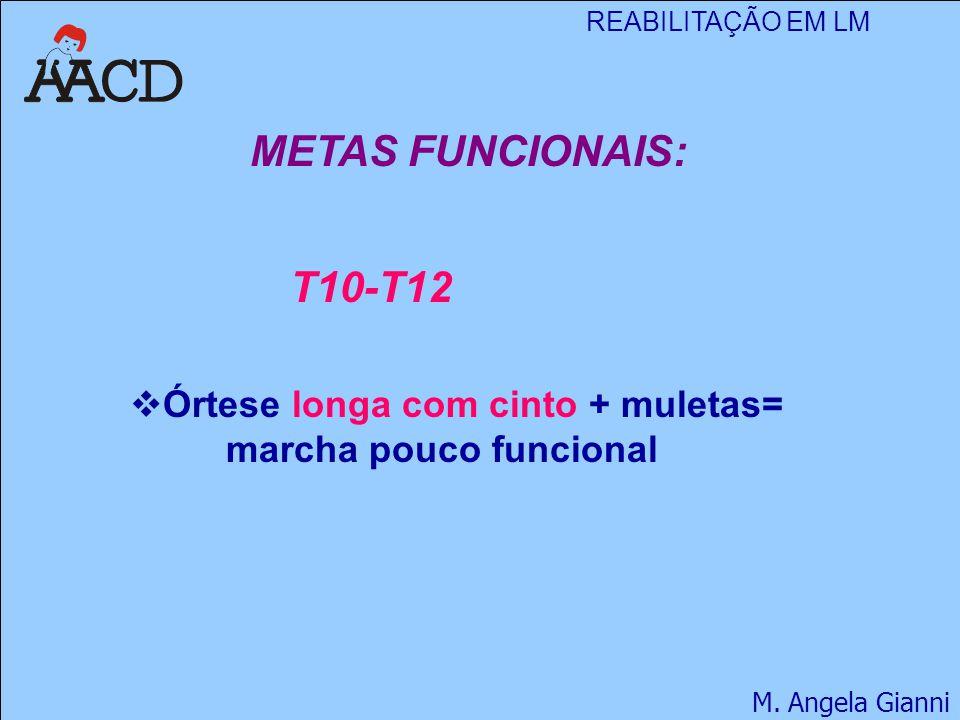 REABILITAÇÃO EM LM M. Angela Gianni METAS FUNCIONAIS:  Órtese longa com cinto + muletas= marcha pouco funcional T10-T12