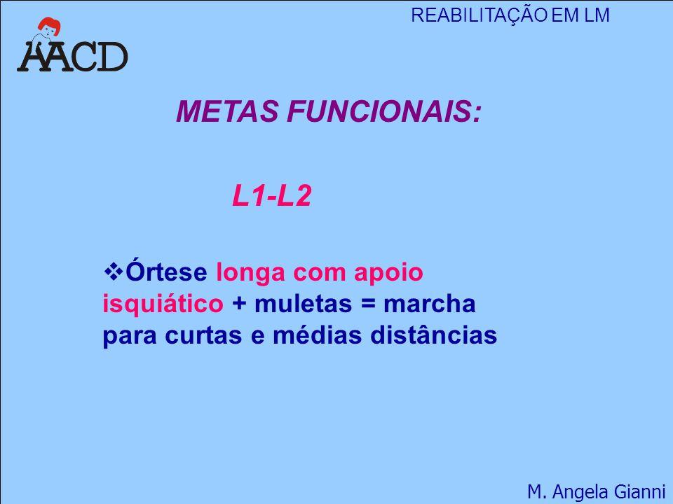 REABILITAÇÃO EM LM M. Angela Gianni METAS FUNCIONAIS: L1-L2  Órtese longa com apoio isquiático + muletas = marcha para curtas e médias distâncias