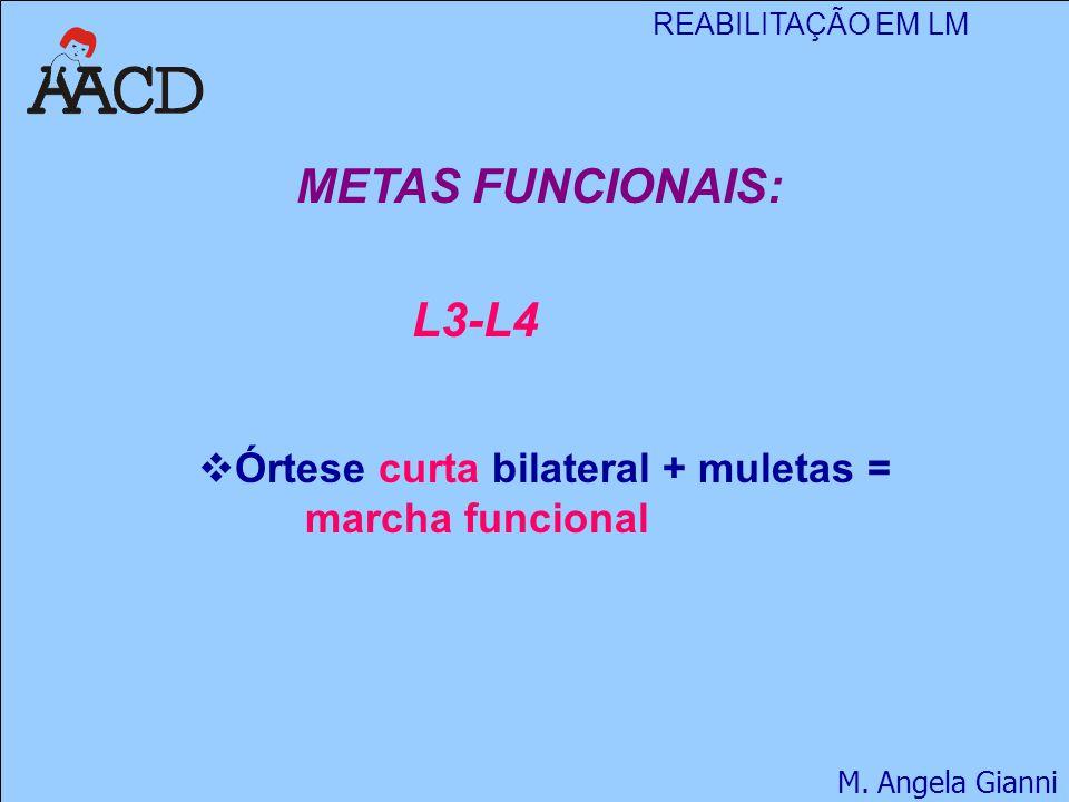 REABILITAÇÃO EM LM M. Angela Gianni METAS FUNCIONAIS: L3-L4  Órtese curta bilateral + muletas = marcha funcional