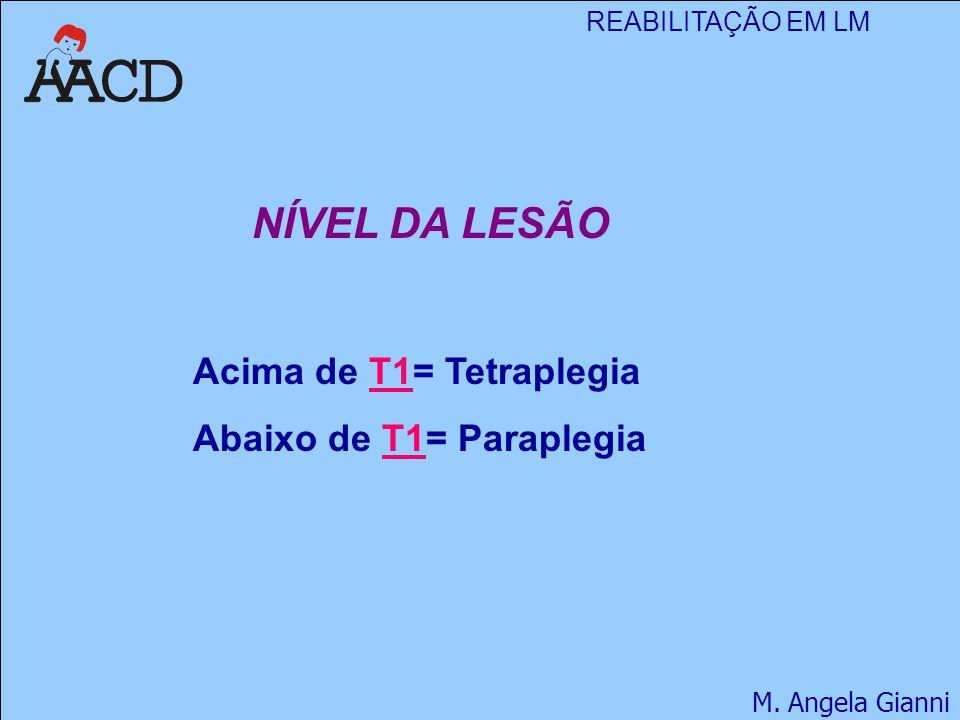 REABILITAÇÃO EM LM M. Angela Gianni NÍVEL DA LESÃO Acima de T1= Tetraplegia Abaixo de T1= Paraplegia