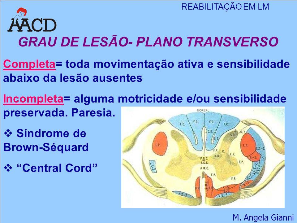 REABILITAÇÃO EM LM M. Angela Gianni GRAU DE LESÃO- PLANO TRANSVERSO Completa= toda movimentação ativa e sensibilidade abaixo da lesão ausentes Incompl