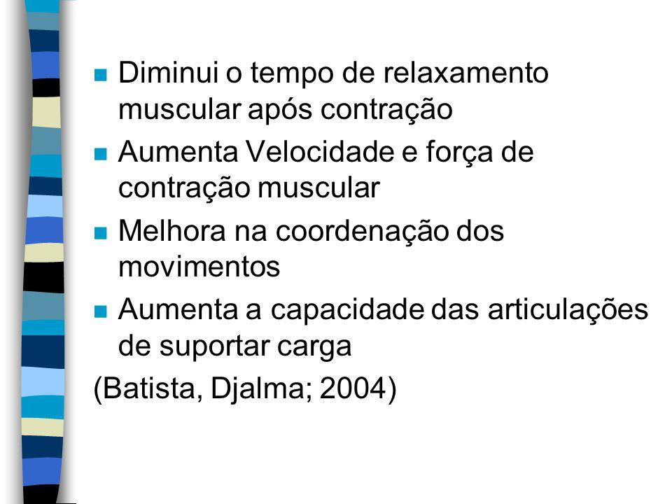 n Diminui o tempo de relaxamento muscular após contração n Aumenta Velocidade e força de contração muscular n Melhora na coordenação dos movimentos n