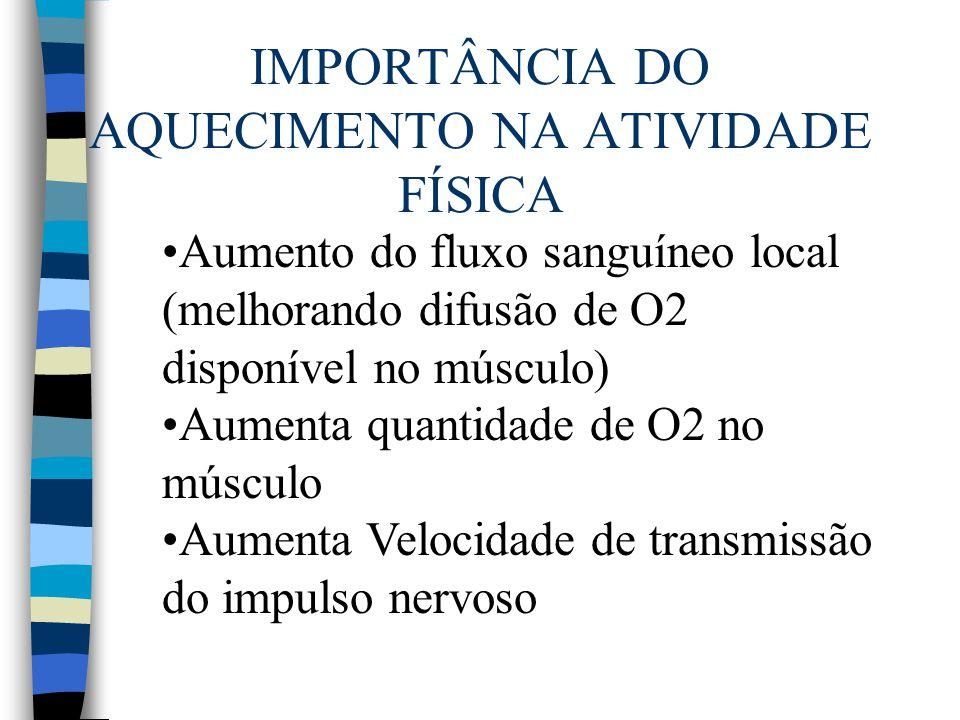 IMPORTÂNCIA DO AQUECIMENTO NA ATIVIDADE FÍSICA Aumento do fluxo sanguíneo local (melhorando difusão de O2 disponível no músculo) Aumenta quantidade de