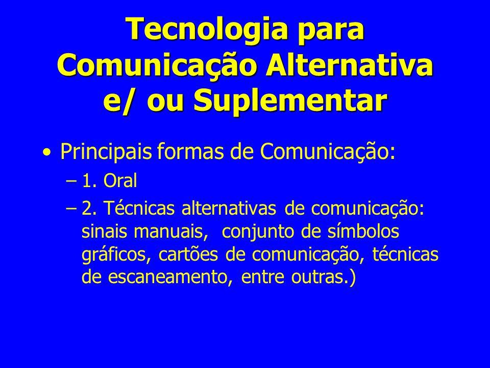 Tecnologia para Comunicação Alternativa e/ ou Suplementar Principais formas de Comunicação: –1. Oral –2. Técnicas alternativas de comunicação: sinais
