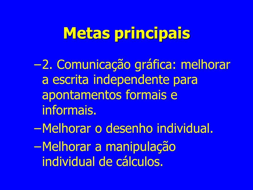 Metas principais –2. Comunicação gráfica: melhorar a escrita independente para apontamentos formais e informais. –Melhorar o desenho individual. –Melh