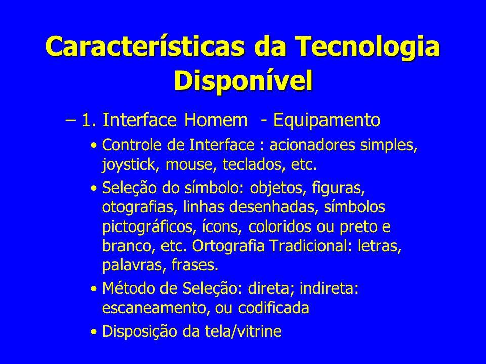 Características da Tecnologia Disponível –1. Interface Homem - Equipamento Controle de Interface : acionadores simples, joystick, mouse, teclados, etc