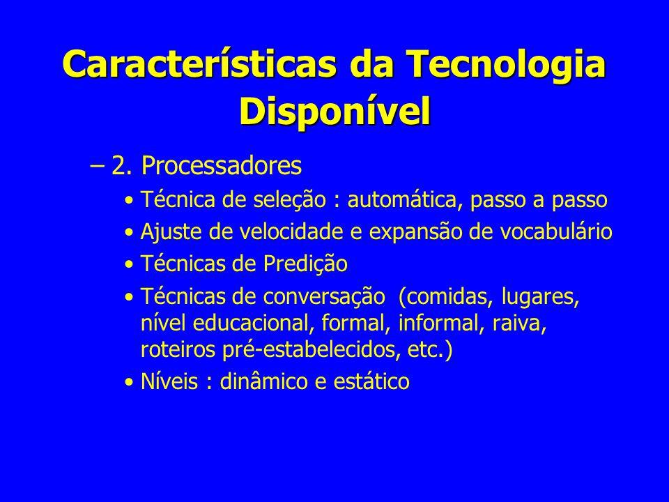 Características da Tecnologia Disponível –2. Processadores Técnica de seleção : automática, passo a passo Ajuste de velocidade e expansão de vocabulár