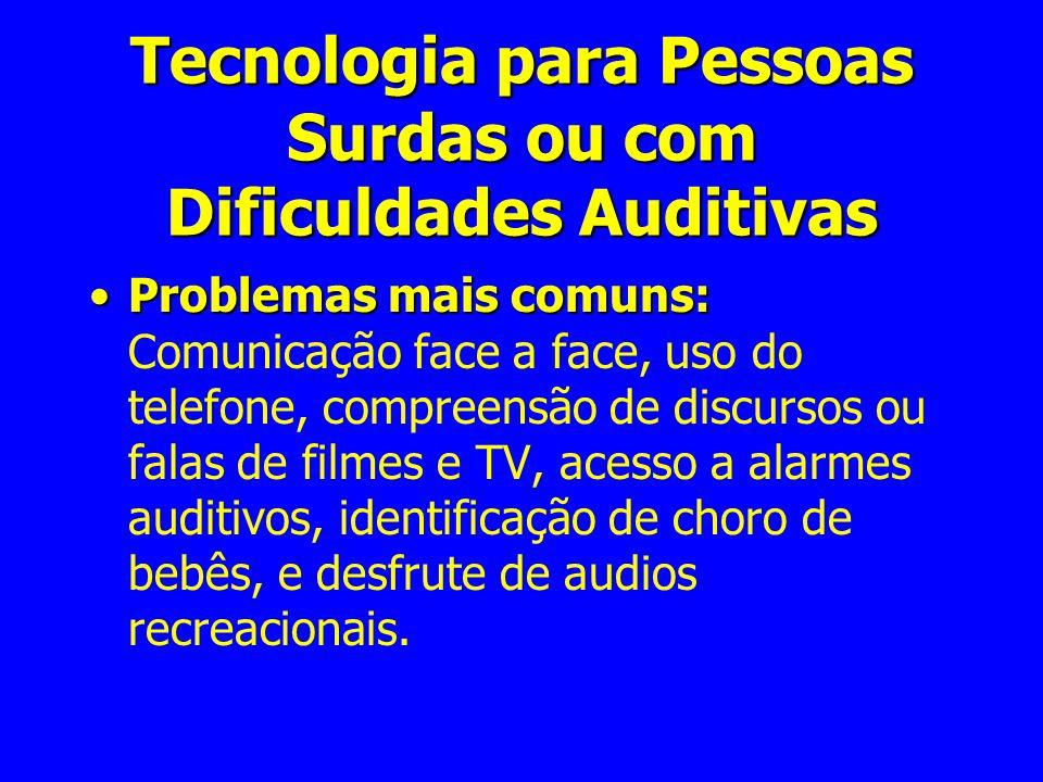 Tecnologia para Pessoas Surdas ou com Dificuldades Auditivas Problemas mais comuns:Problemas mais comuns: Comunicação face a face, uso do telefone, co
