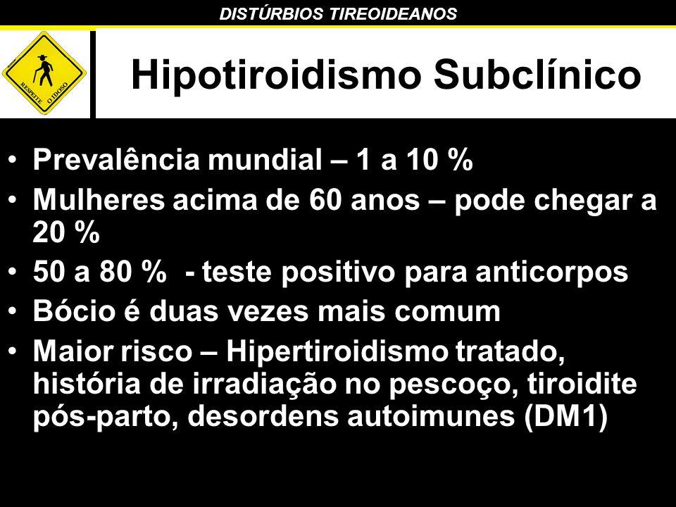 DISTÚRBIOS TIREOIDEANOS Hipotiroidismo Subclínico Prevalência mundial – 1 a 10 % Mulheres acima de 60 anos – pode chegar a 20 % 50 a 80 % - teste posi