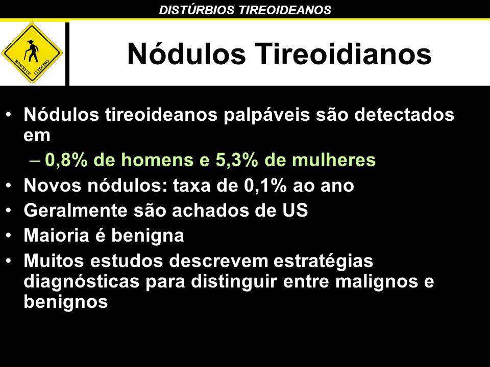 DISTÚRBIOS TIREOIDEANOS Nódulos Tireoidianos Nódulos tireoideanos palpáveis são detectados em –0,8% de homens e 5,3% de mulheres Novos nódulos: taxa d