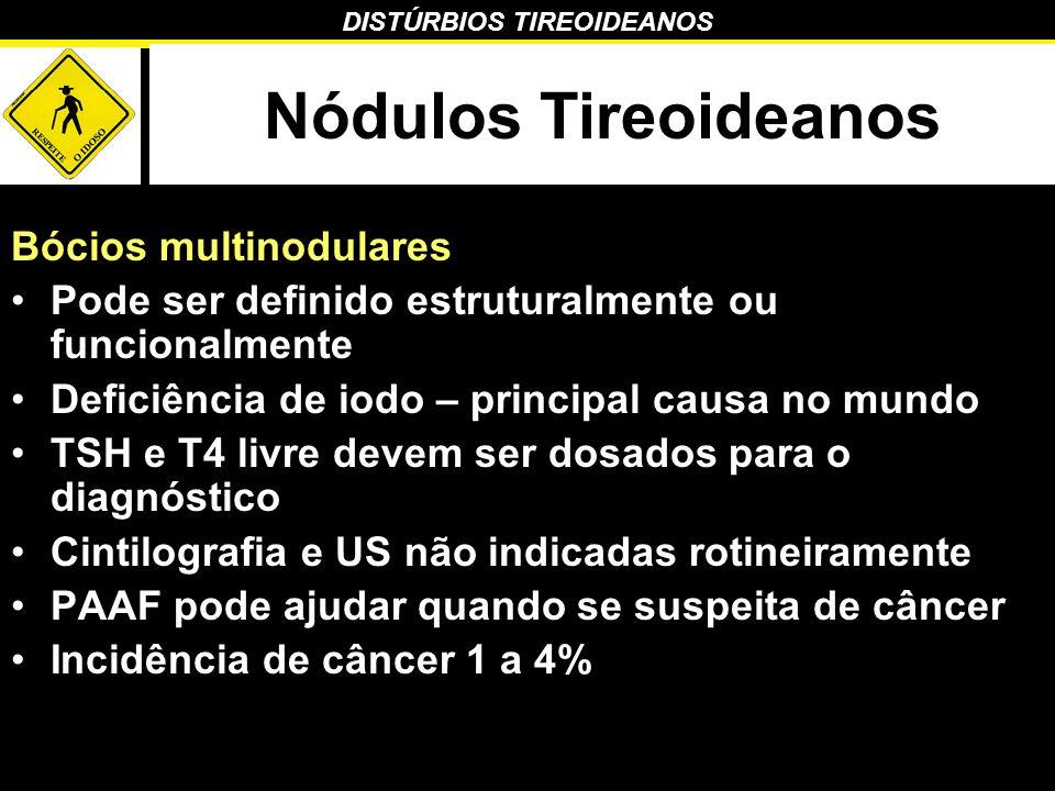DISTÚRBIOS TIREOIDEANOS Nódulos Tireoideanos Bócios multinodulares Pode ser definido estruturalmente ou funcionalmente Deficiência de iodo – principal