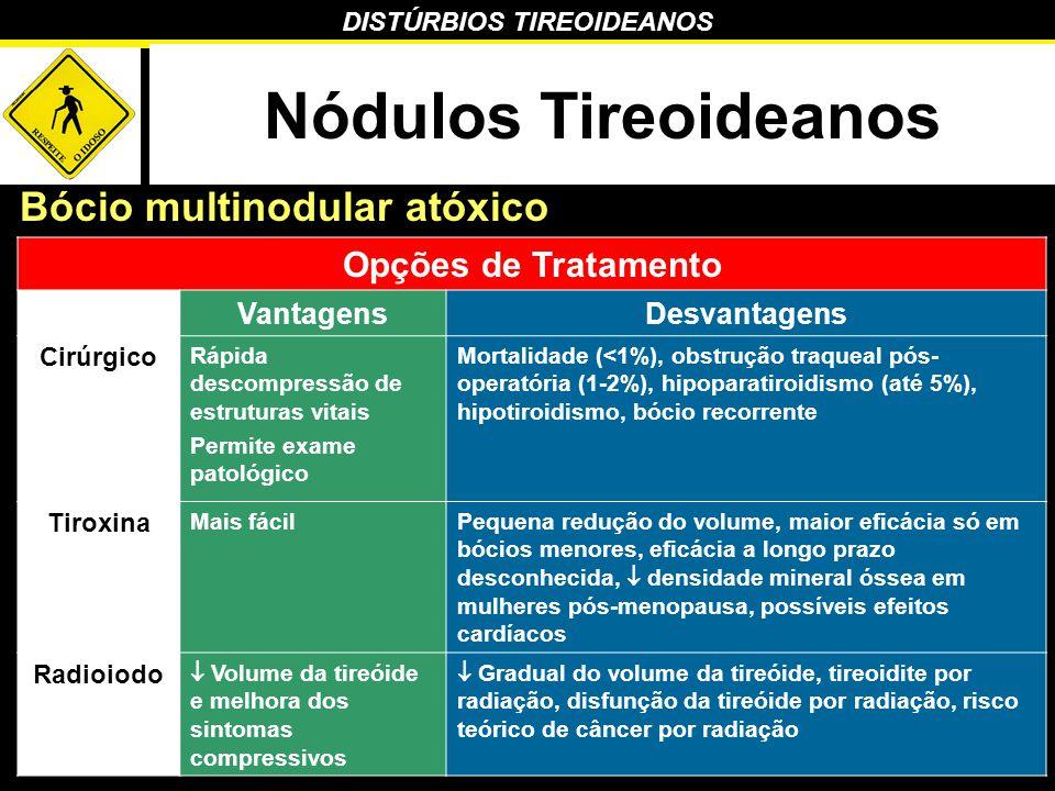 DISTÚRBIOS TIREOIDEANOS Nódulos Tireoideanos Bócio multinodular atóxico Opções de Tratamento VantagensDesvantagens Cirúrgico Rápida descompressão de e