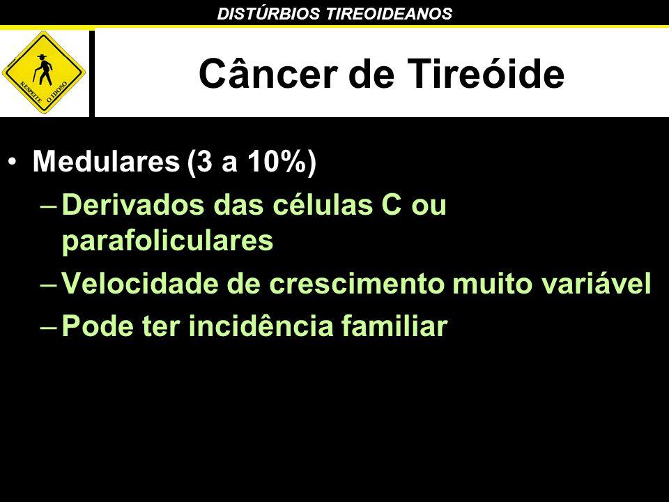 DISTÚRBIOS TIREOIDEANOS Câncer de Tireóide Medulares (3 a 10%) –Derivados das células C ou parafoliculares –Velocidade de crescimento muito variável –