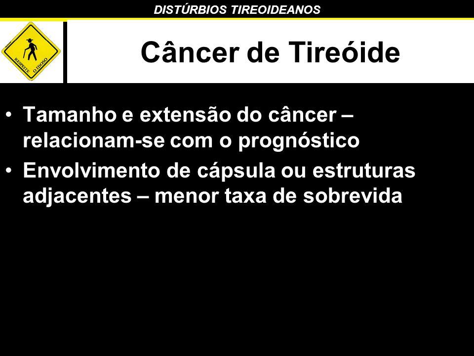 DISTÚRBIOS TIREOIDEANOS Câncer de Tireóide Tamanho e extensão do câncer – relacionam-se com o prognóstico Envolvimento de cápsula ou estruturas adjace