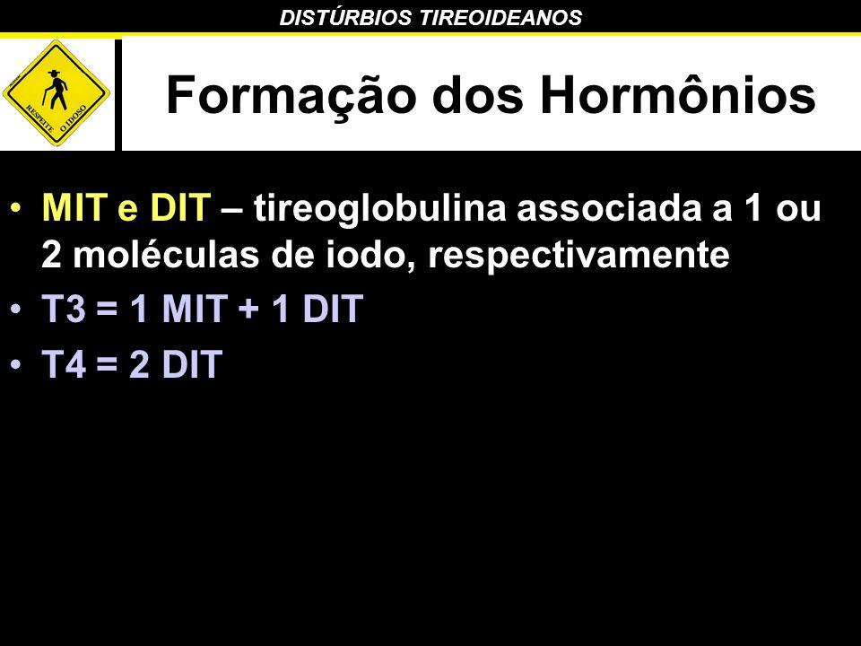 DISTÚRBIOS TIREOIDEANOS Formação dos Hormônios MIT e DIT – tireoglobulina associada a 1 ou 2 moléculas de iodo, respectivamente T3 = 1 MIT + 1 DIT T4