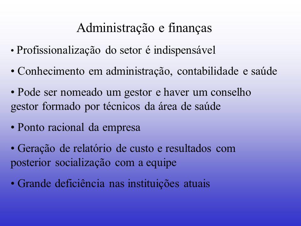 Administração e finanças Profissionalização do setor é indispensável Conhecimento em administração, contabilidade e saúde Pode ser nomeado um gestor e