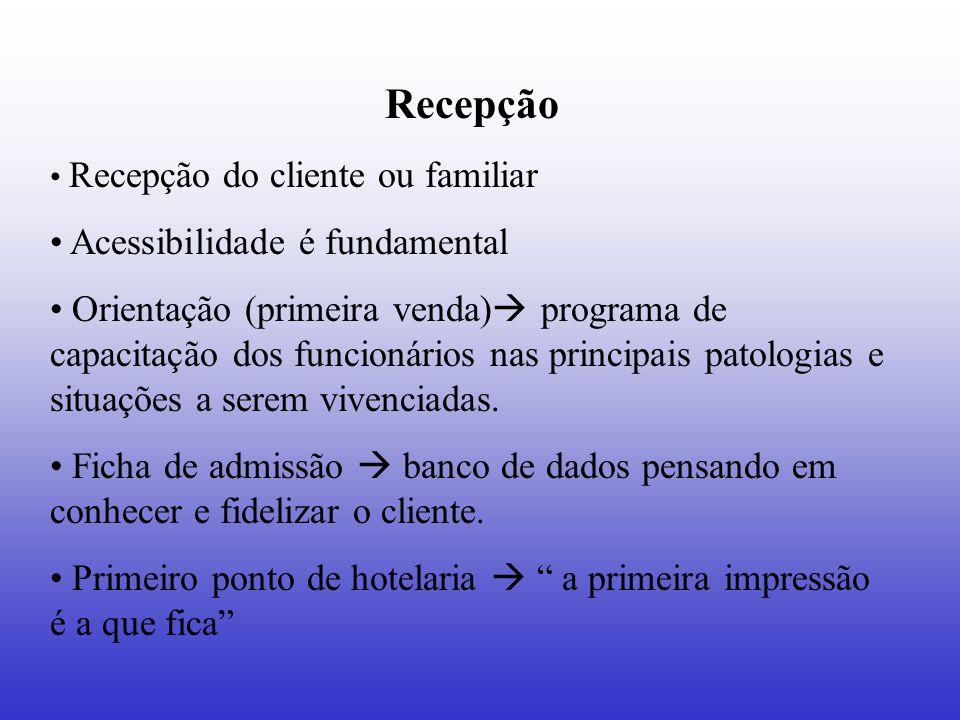 Recepção Recepção do cliente ou familiar Acessibilidade é fundamental Orientação (primeira venda)  programa de capacitação dos funcionários nas princ